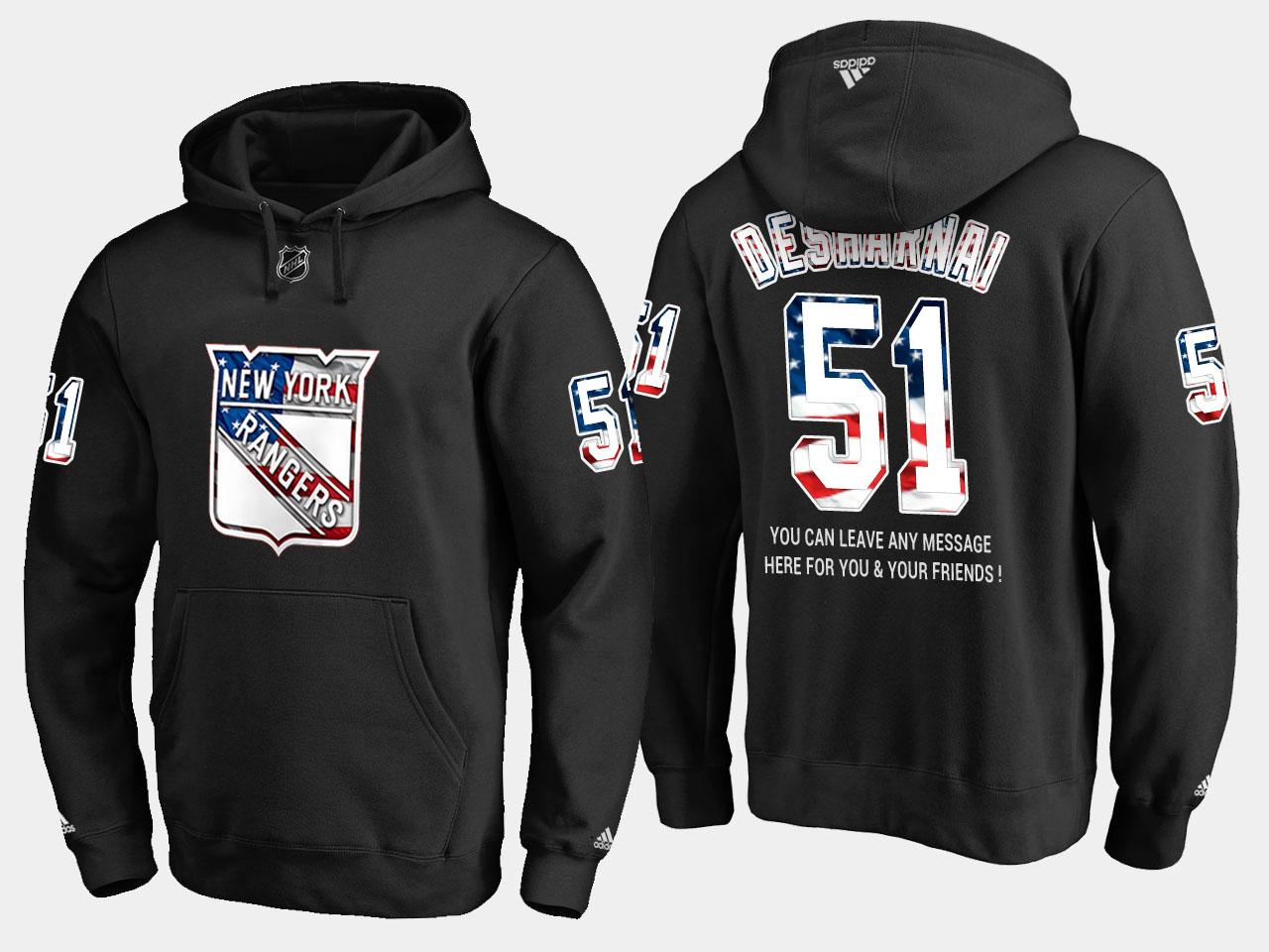Rangers #51 David Desharnais NHL Banner Wave Usa Flag Black Hoodie