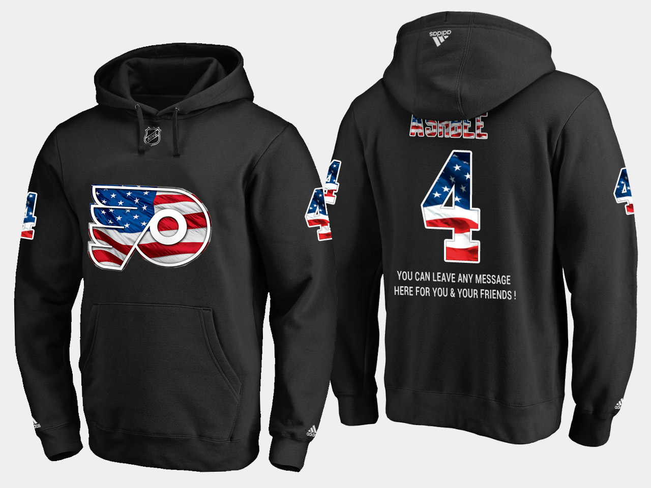 Flyers #4 Barry Ashbee NHL Banner Wave Usa Flag Black Hoodie