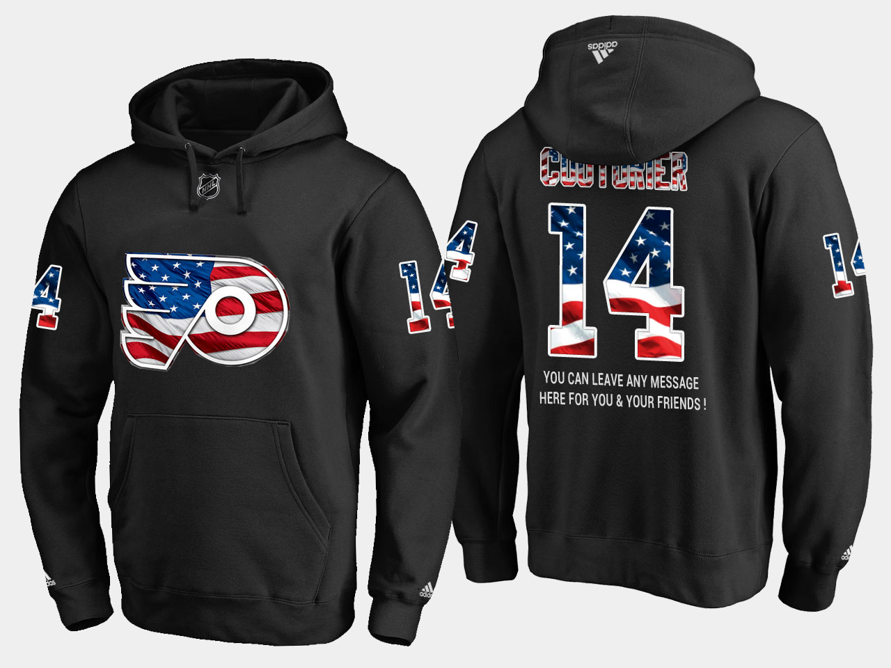 Flyers #14 Sean Couturier NHL Banner Wave Usa Flag Black Hoodie