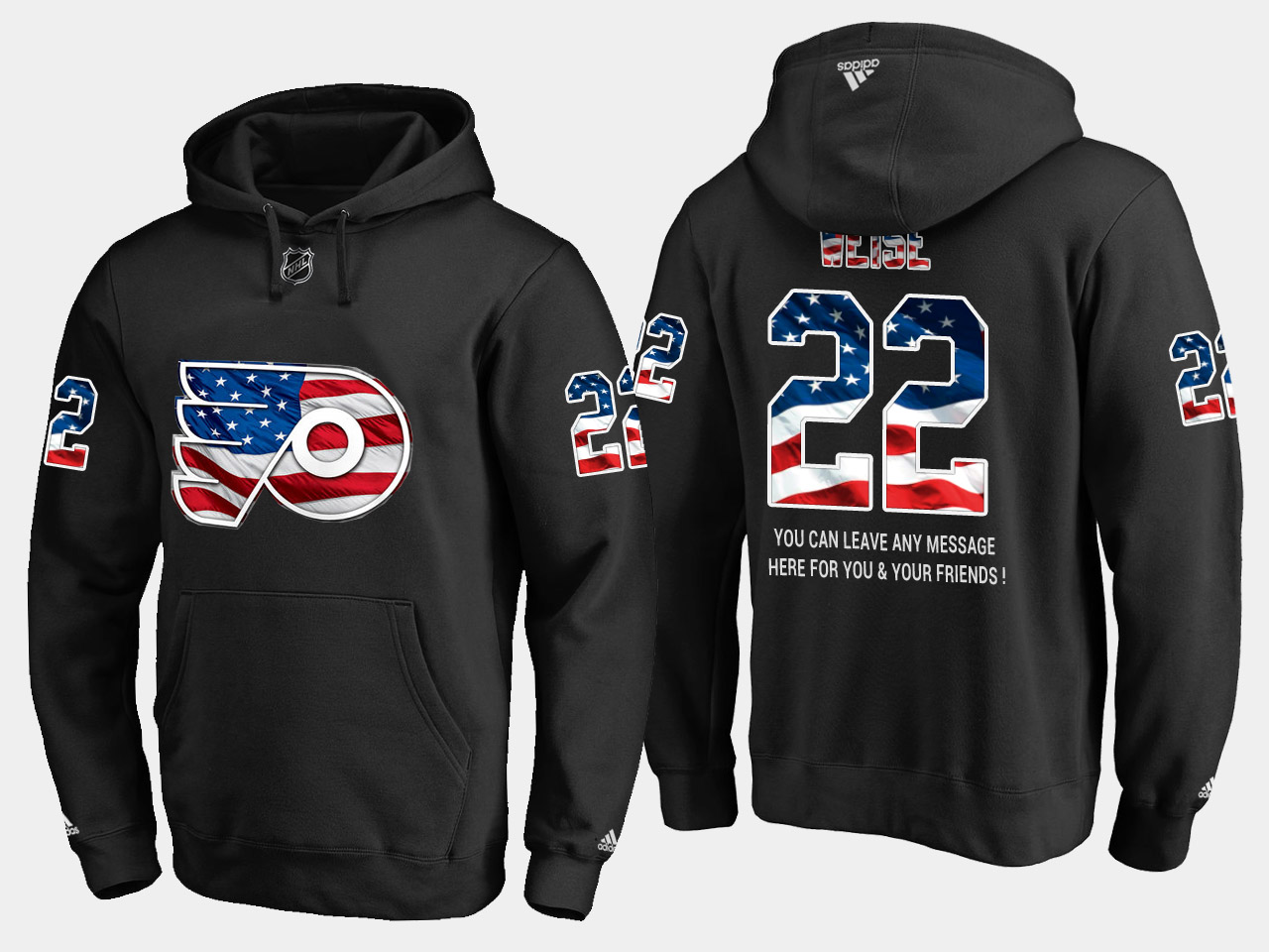 Flyers #22 Dale Weise NHL Banner Wave Usa Flag Black Hoodie