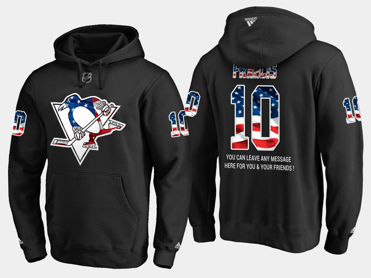 Penguins #10 Ron Francis NHL Banner Wave Usa Flag Black Hoodie