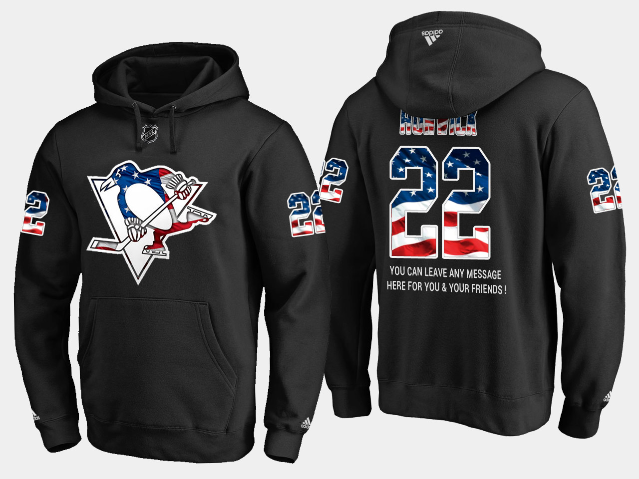 Penguins #22 Matt Hunwick NHL Banner Wave Usa Flag Black Hoodie