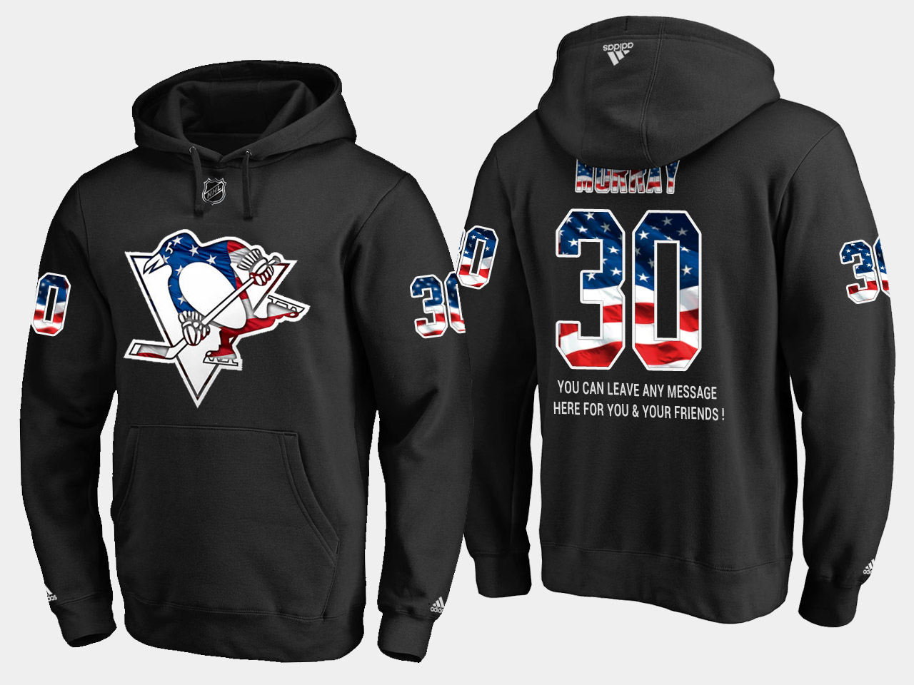 Penguins #30 Matt Murray NHL Banner Wave Usa Flag Black Hoodie