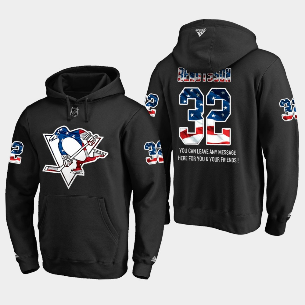Penguins #32 Lukas Bengtsson NHL Banner Wave Usa Flag Black Hoodie