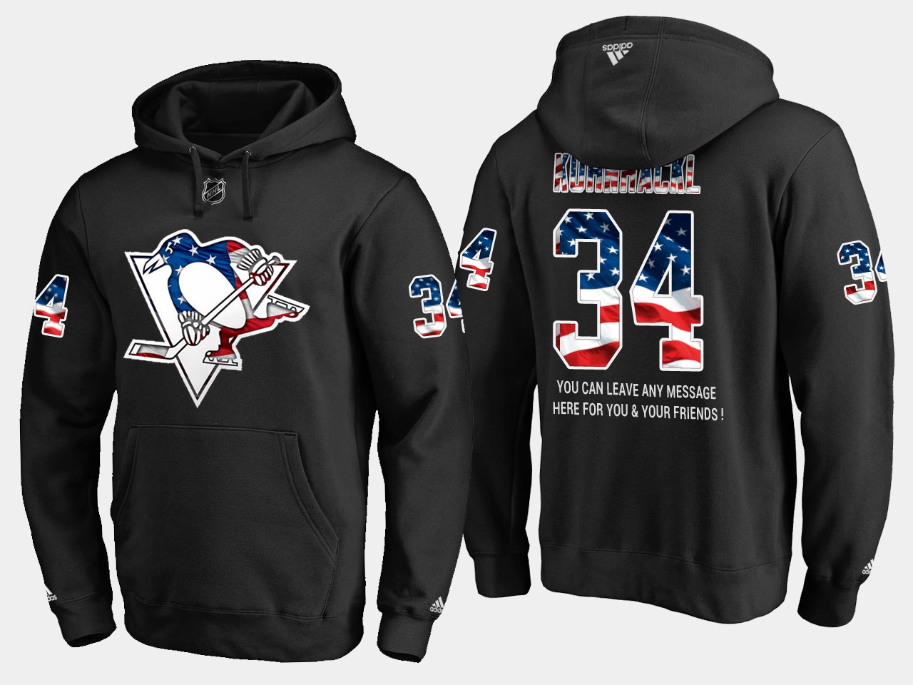 Penguins #34 Tom Kuhnhackl NHL Banner Wave Usa Flag Black Hoodie