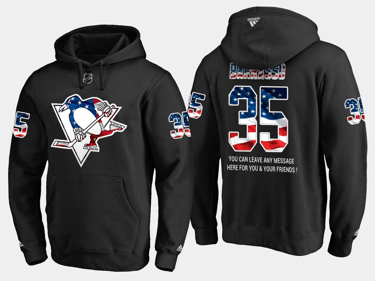 Penguins #35 Tom Barrasso NHL Banner Wave Usa Flag Black Hoodie