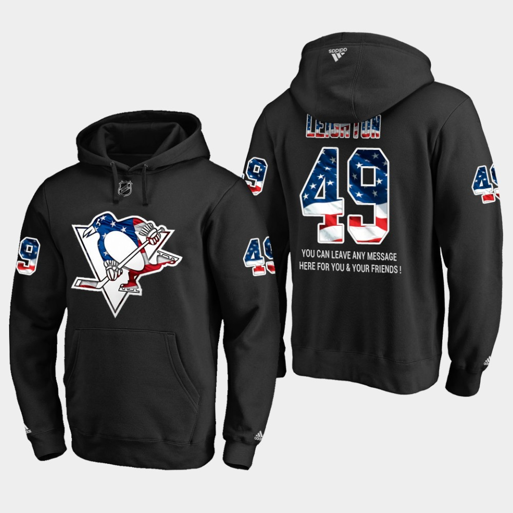 Penguins #49 Michael Leighton NHL Banner Wave Usa Flag Black Hoodie