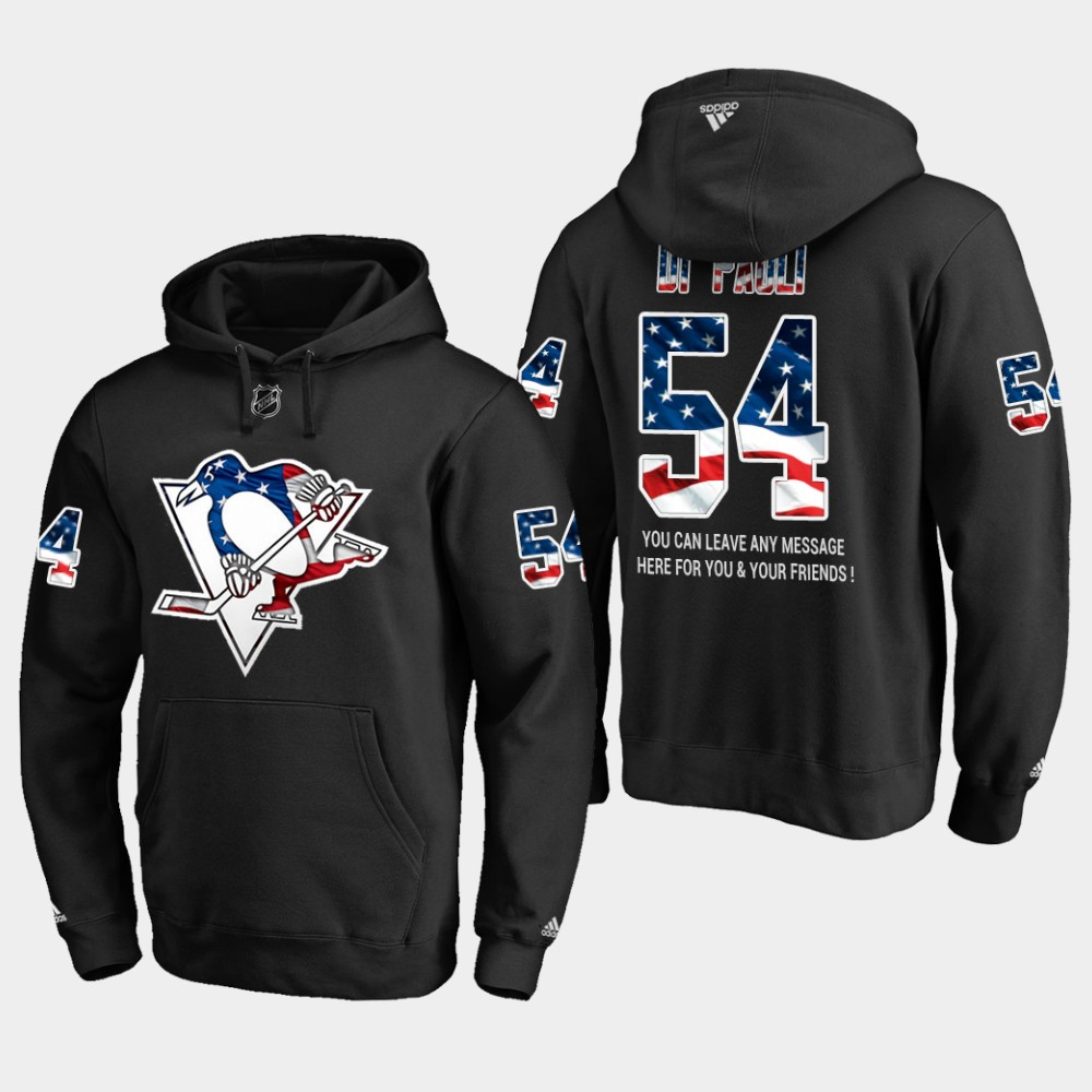 Penguins #54 Thomas Di Pauli NHL Banner Wave Usa Flag Black Hoodie