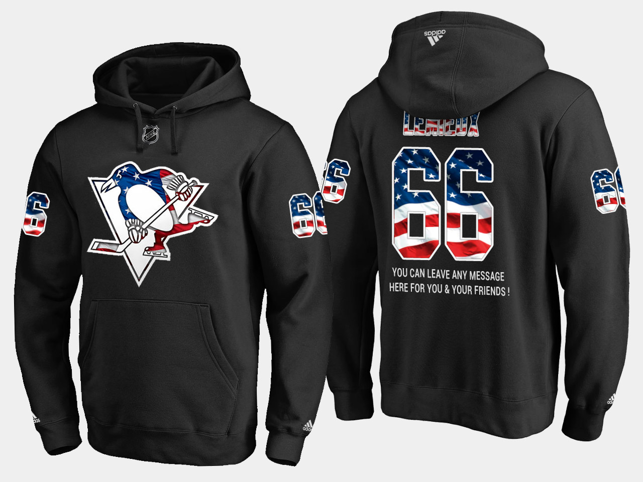 Penguins #66 Mario Lemieux NHL Banner Wave Usa Flag Black Hoodie