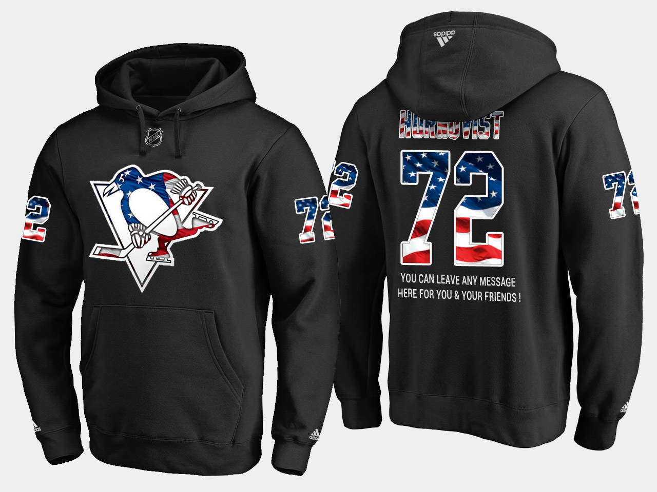 Penguins #72 Patric Hornqvist NHL Banner Wave Usa Flag Black Hoodie