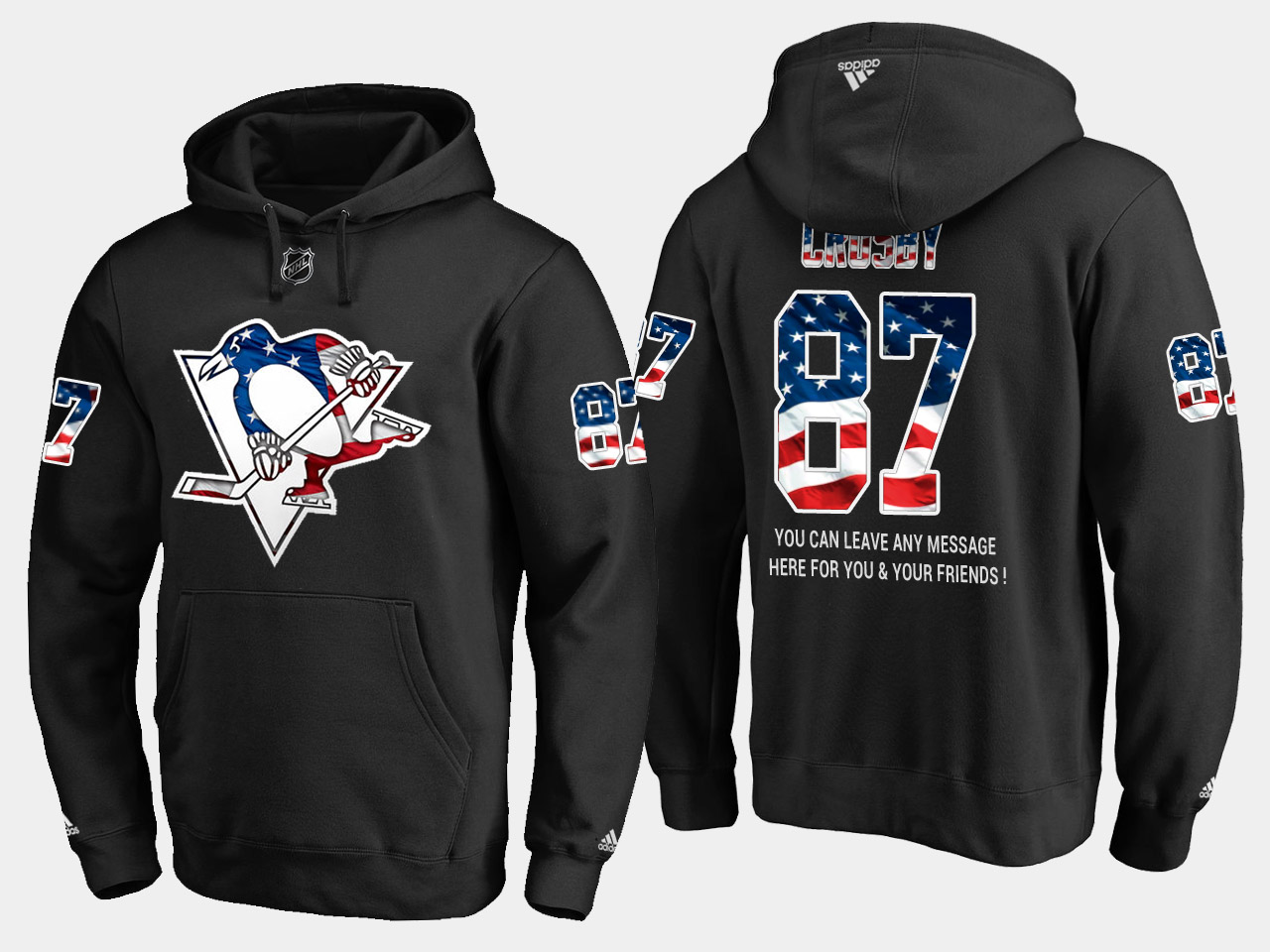 Penguins #87 Sidney Crosby NHL Banner Wave Usa Flag Black Hoodie
