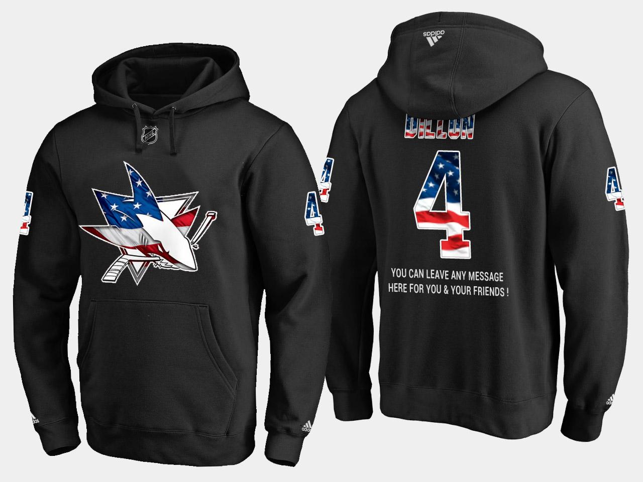 Sharks #4 Brenden Dillon NHL Banner Wave Usa Flag Black Hoodie
