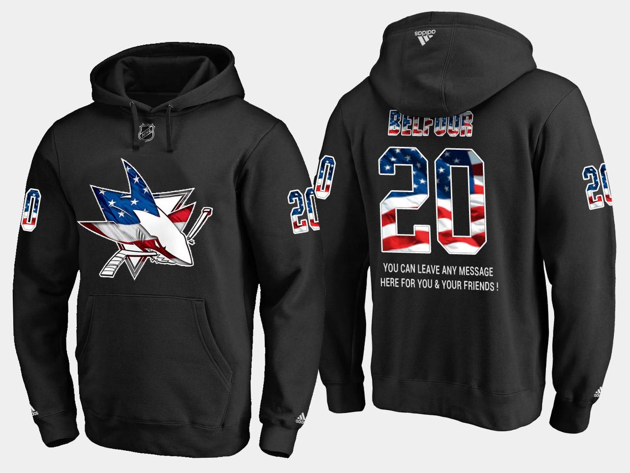 Sharks #20 Ed Belfour NHL Banner Wave Usa Flag Black Hoodie