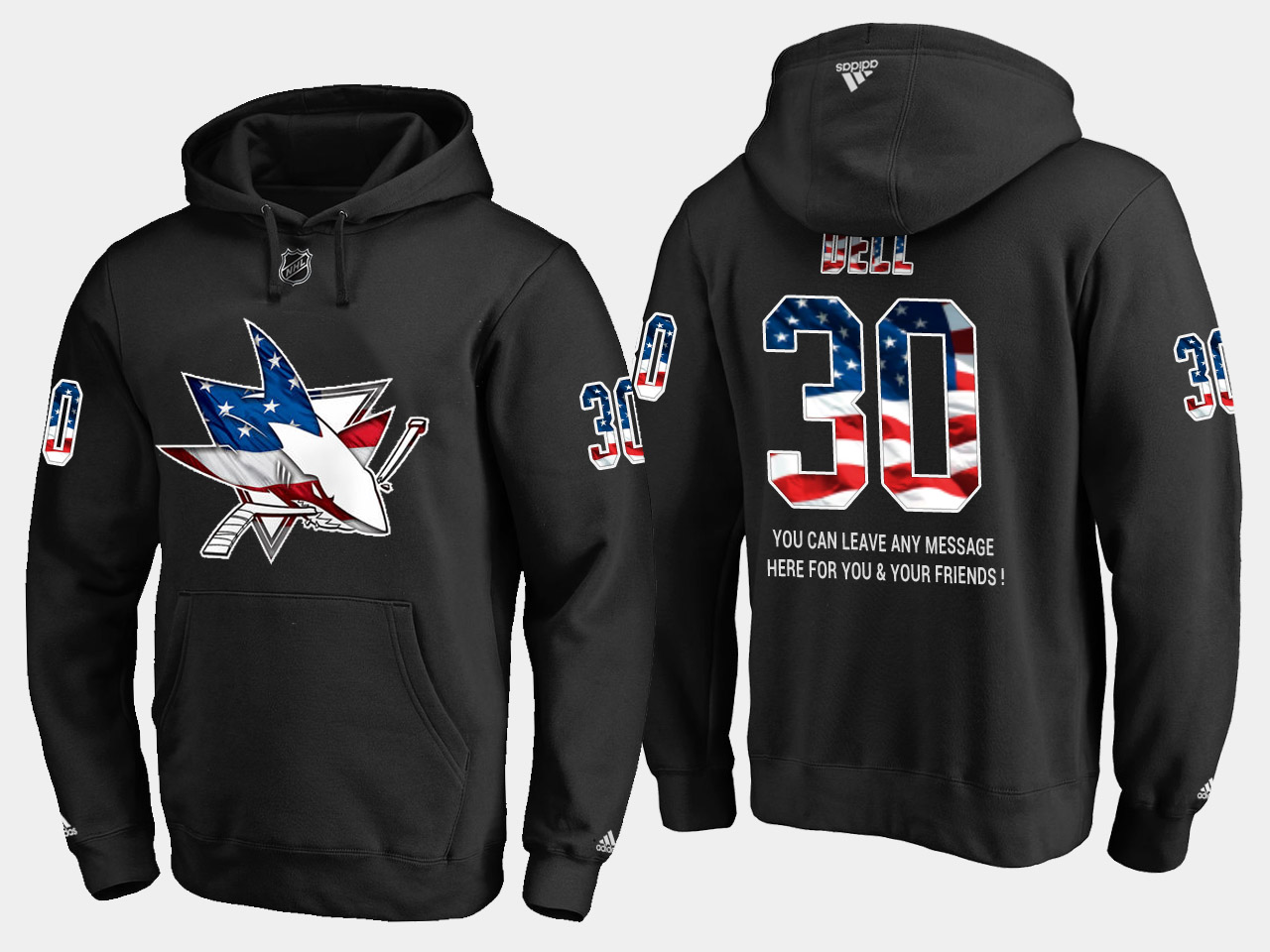 Sharks #30 Aaron Dell NHL Banner Wave Usa Flag Black Hoodie