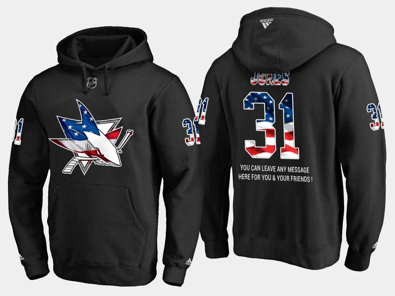 Sharks #31 Martin Jones NHL Banner Wave Usa Flag Black Hoodie