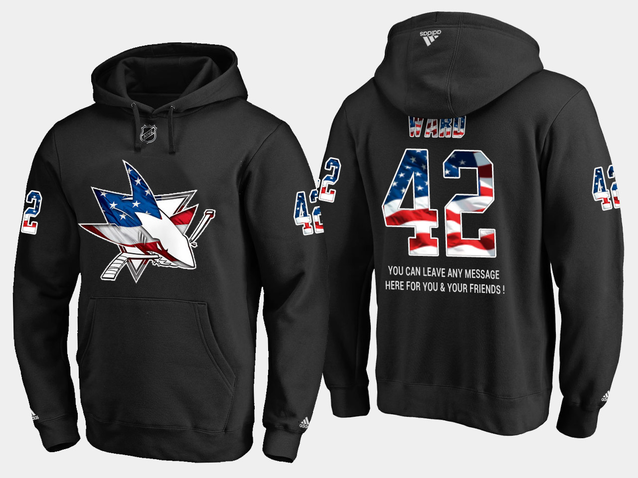Sharks #42 Joel Ward NHL Banner Wave Usa Flag Black Hoodie