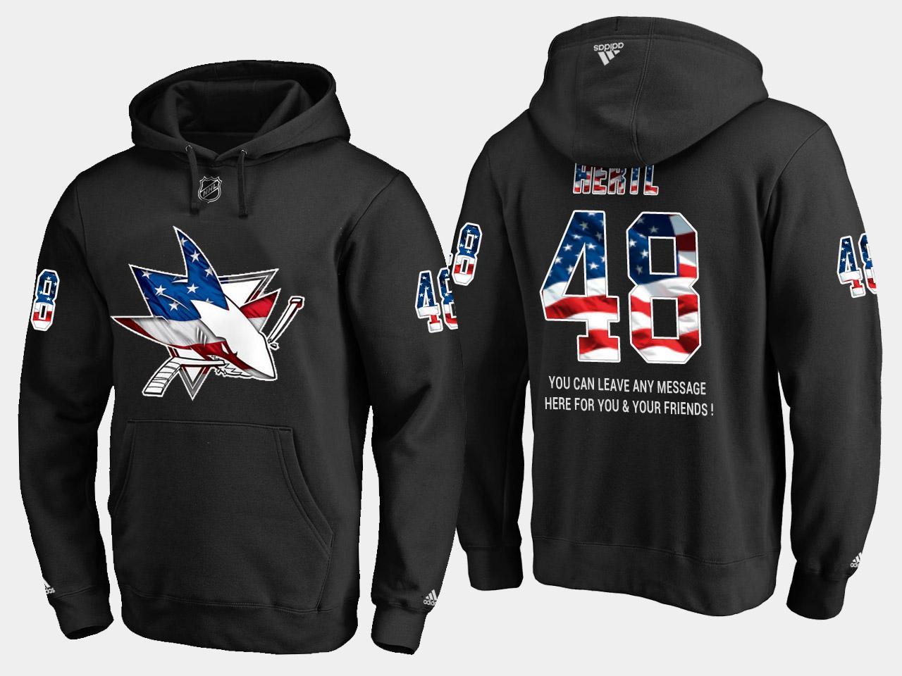 Sharks #48 Tomas Hertl NHL Banner Wave Usa Flag Black Hoodie