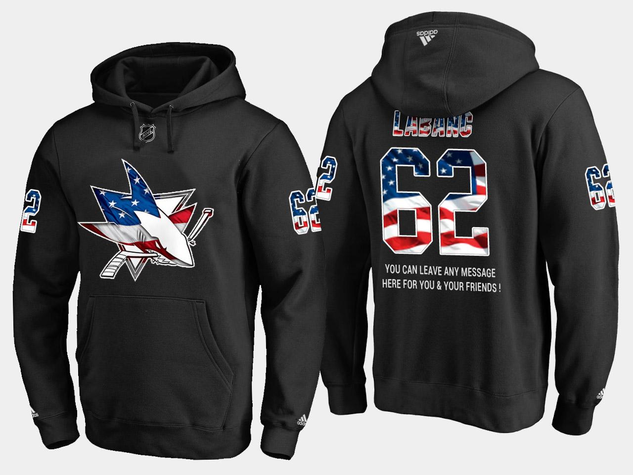 Sharks #62 Kevin Labanc NHL Banner Wave Usa Flag Black Hoodie