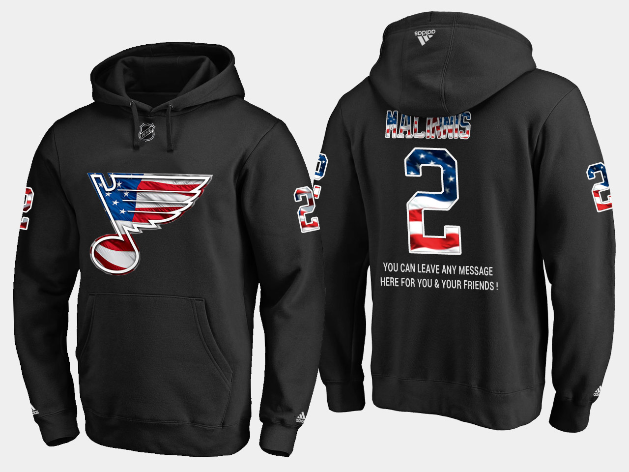 Blues #2 Al Macinnis NHL Banner Wave Usa Flag Black Hoodie