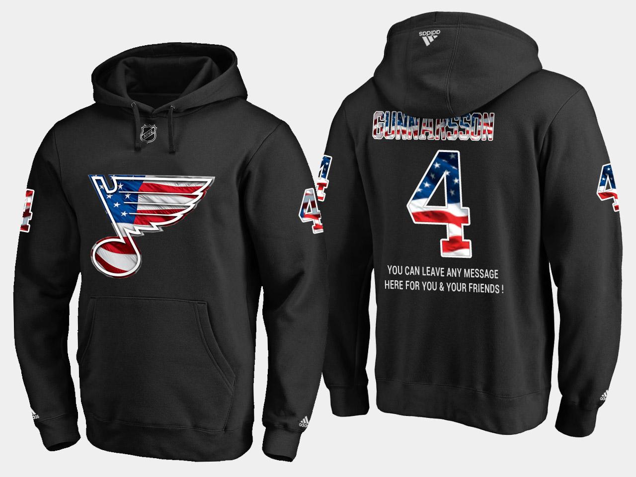 Blues #4 Carl Gunnarsson NHL Banner Wave Usa Flag Black Hoodie