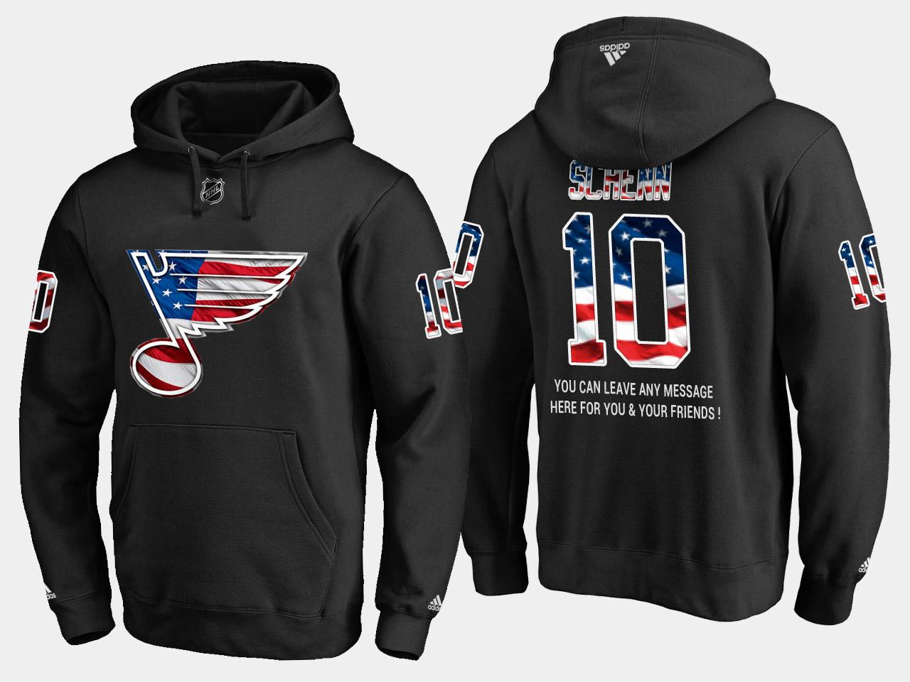 Blues #10 Brayden Schenn NHL Banner Wave Usa Flag Black Hoodie
