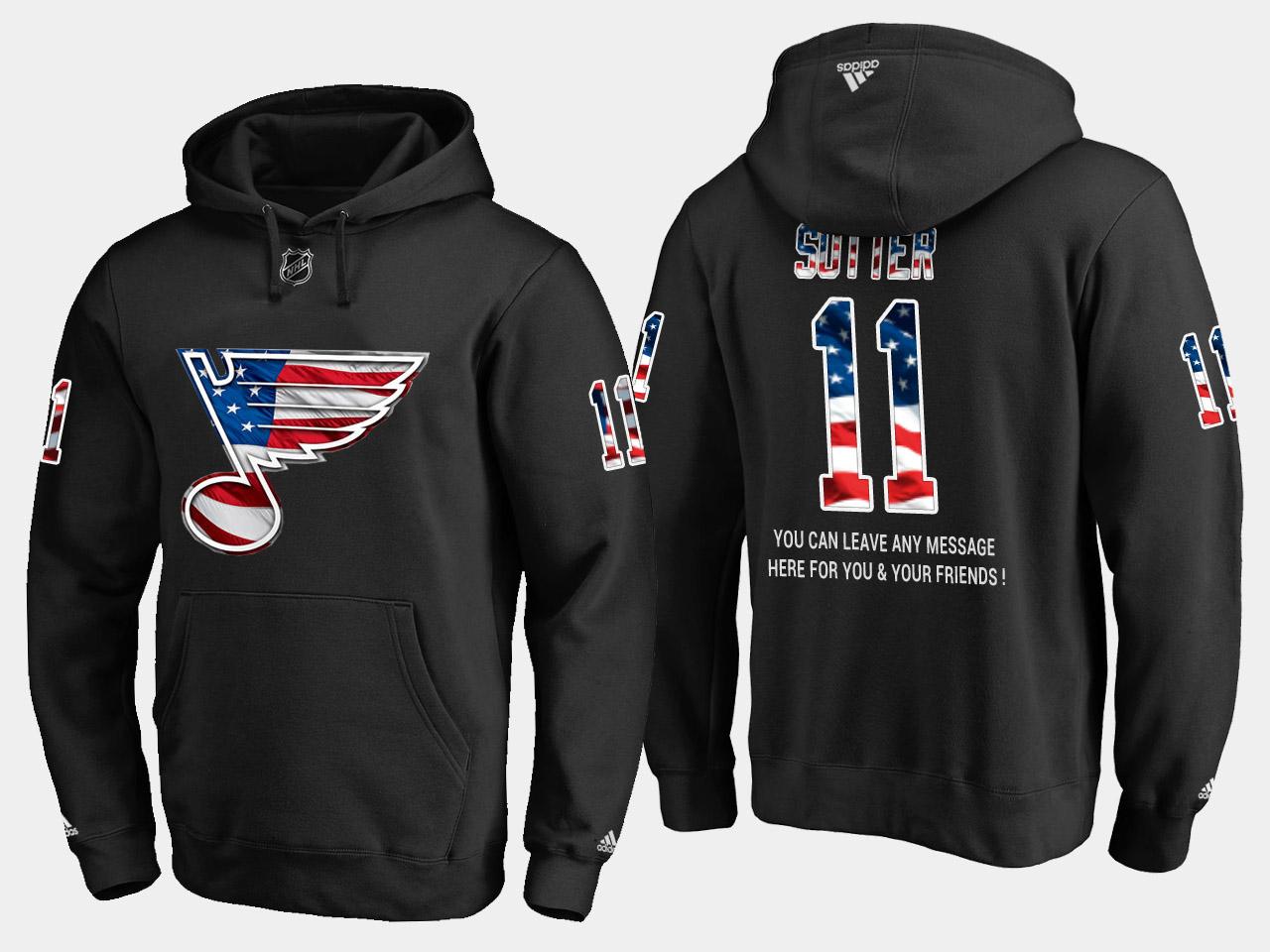 Blues #11 Brian Sutter NHL Banner Wave Usa Flag Black Hoodie