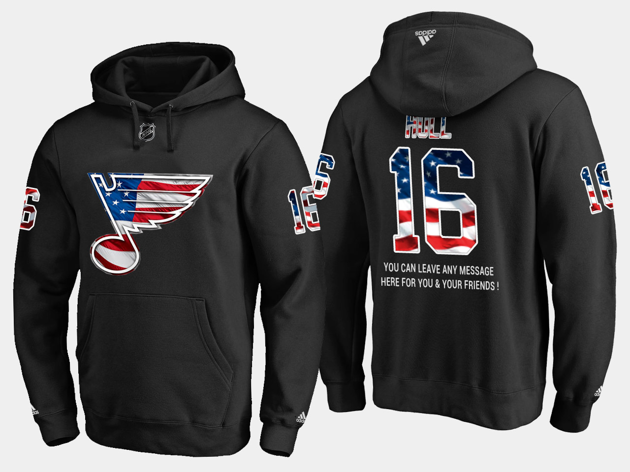 Blues #16 Brett Hull NHL Banner Wave Usa Flag Black Hoodie