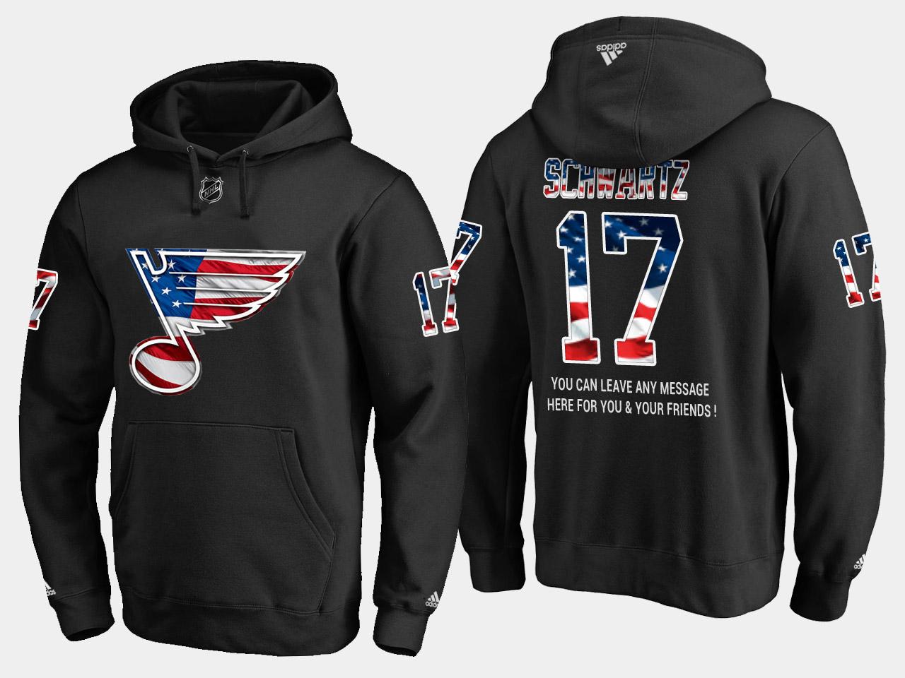 Blues #17 Jaden Schwartz NHL Banner Wave Usa Flag Black Hoodie