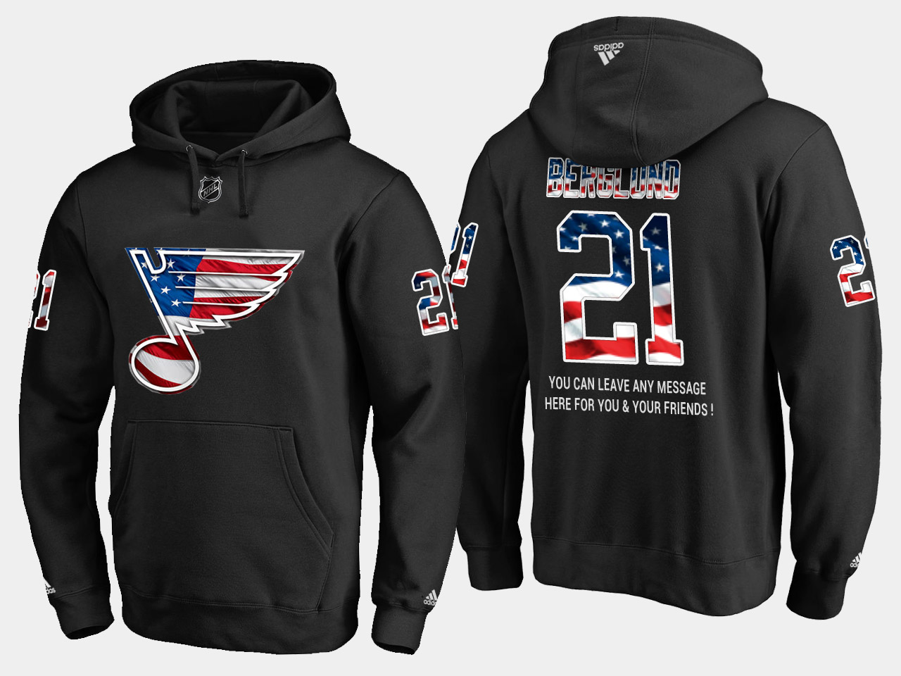Blues #21 Patrik Berglund NHL Banner Wave Usa Flag Black Hoodie