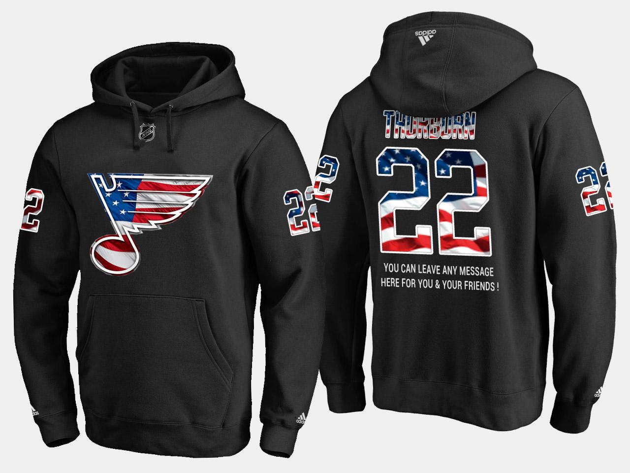 Blues #22 Chris Thorburn NHL Banner Wave Usa Flag Black Hoodie