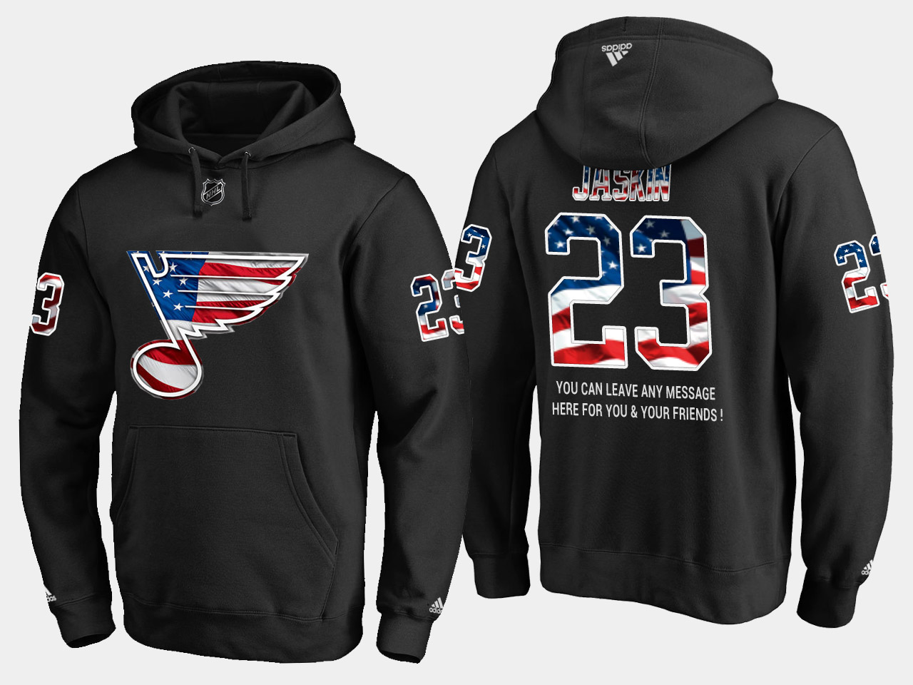 Blues #23 Dmitrij Jaskin NHL Banner Wave Usa Flag Black Hoodie