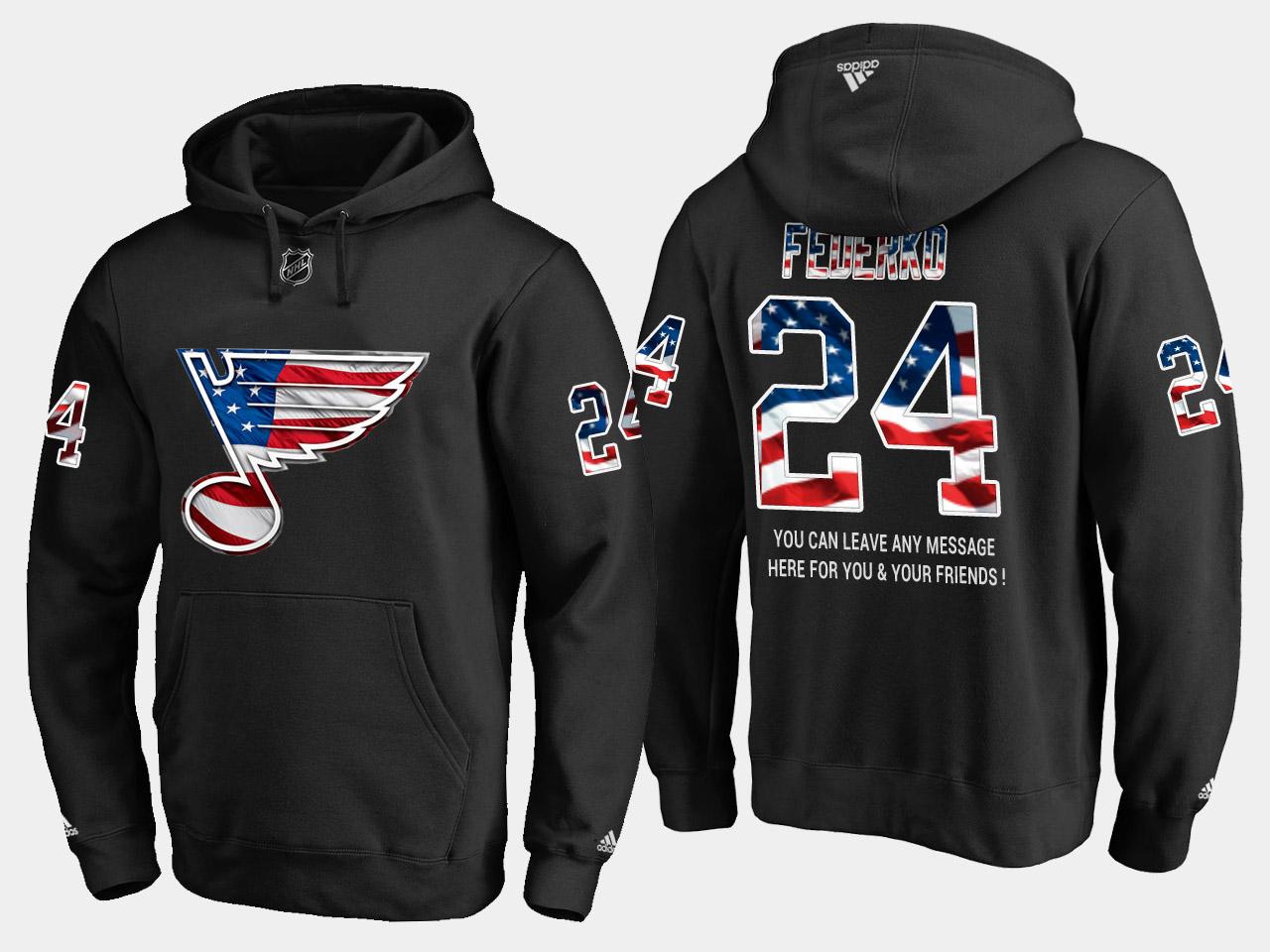 Blues #24 Bernie Federko NHL Banner Wave Usa Flag Black Hoodie