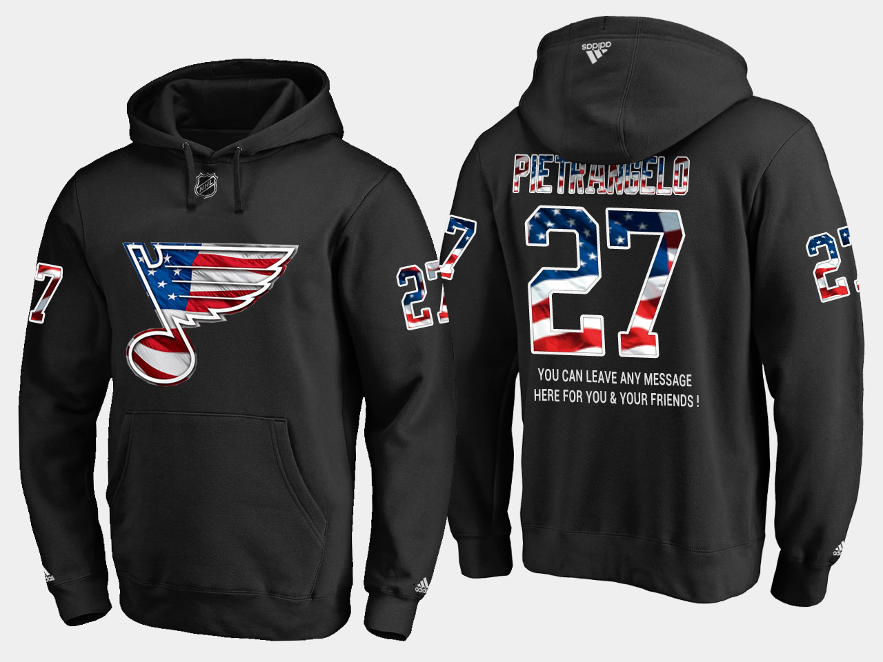 Blues #27 Alex Pietrangelo NHL Banner Wave Usa Flag Black Hoodie