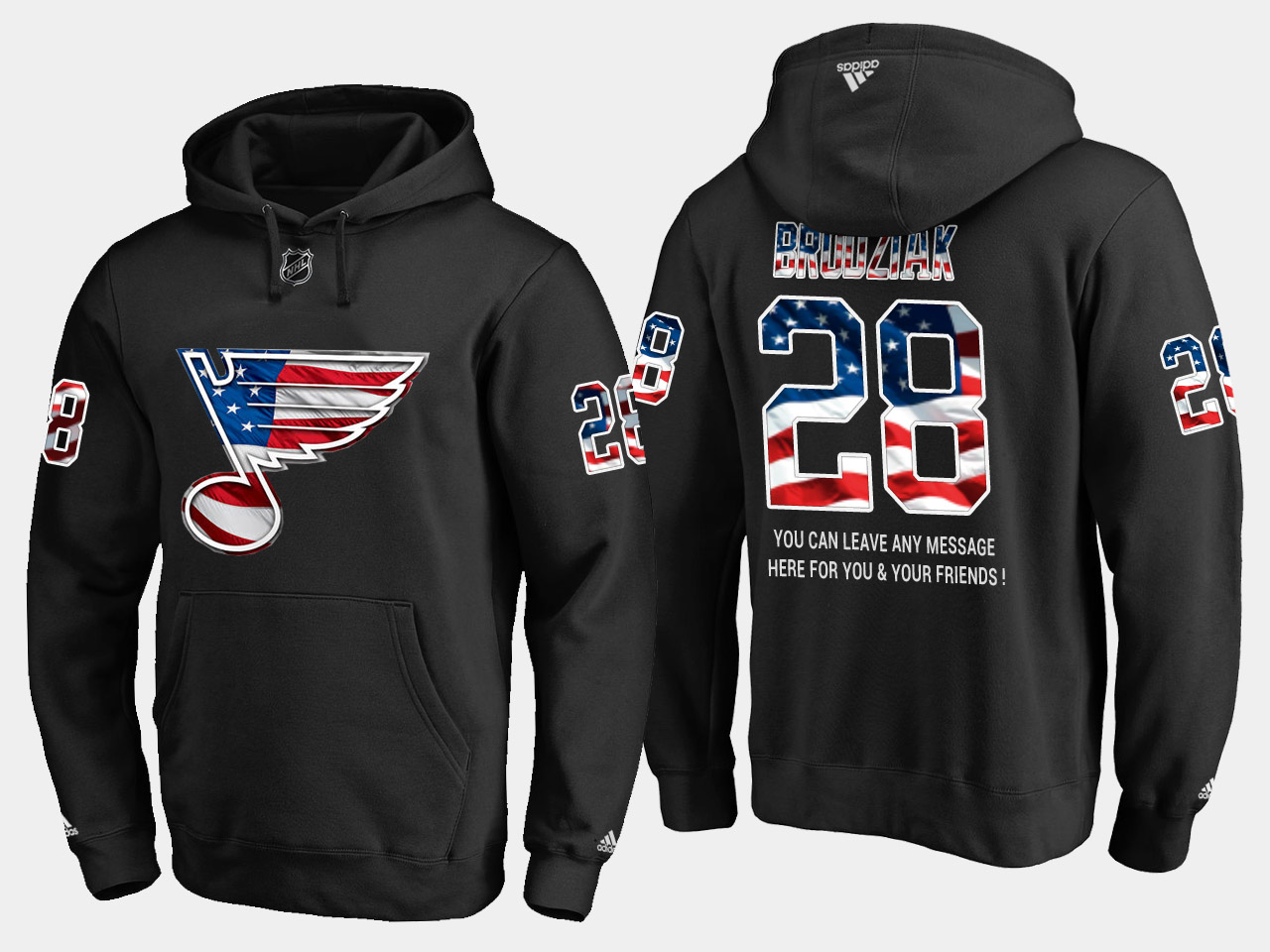 Blues #28 Kyle Brodziak NHL Banner Wave Usa Flag Black Hoodie
