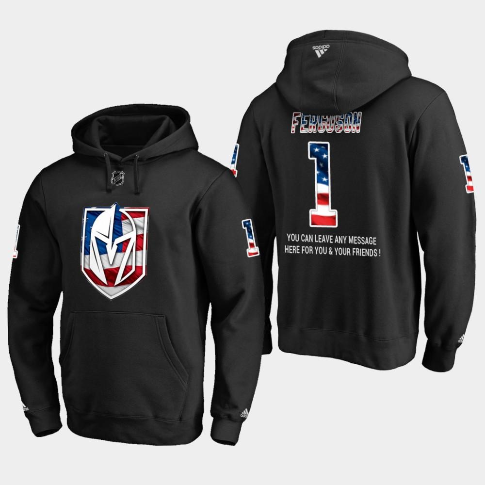 Golden Knights #1 Dylan Ferguson NHL Banner Wave Usa Flag Black Hoodie