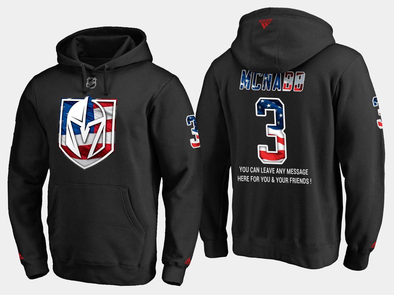 Golden Knights #3 Brayden Mcnabb NHL Banner Wave Usa Flag Black Hoodie