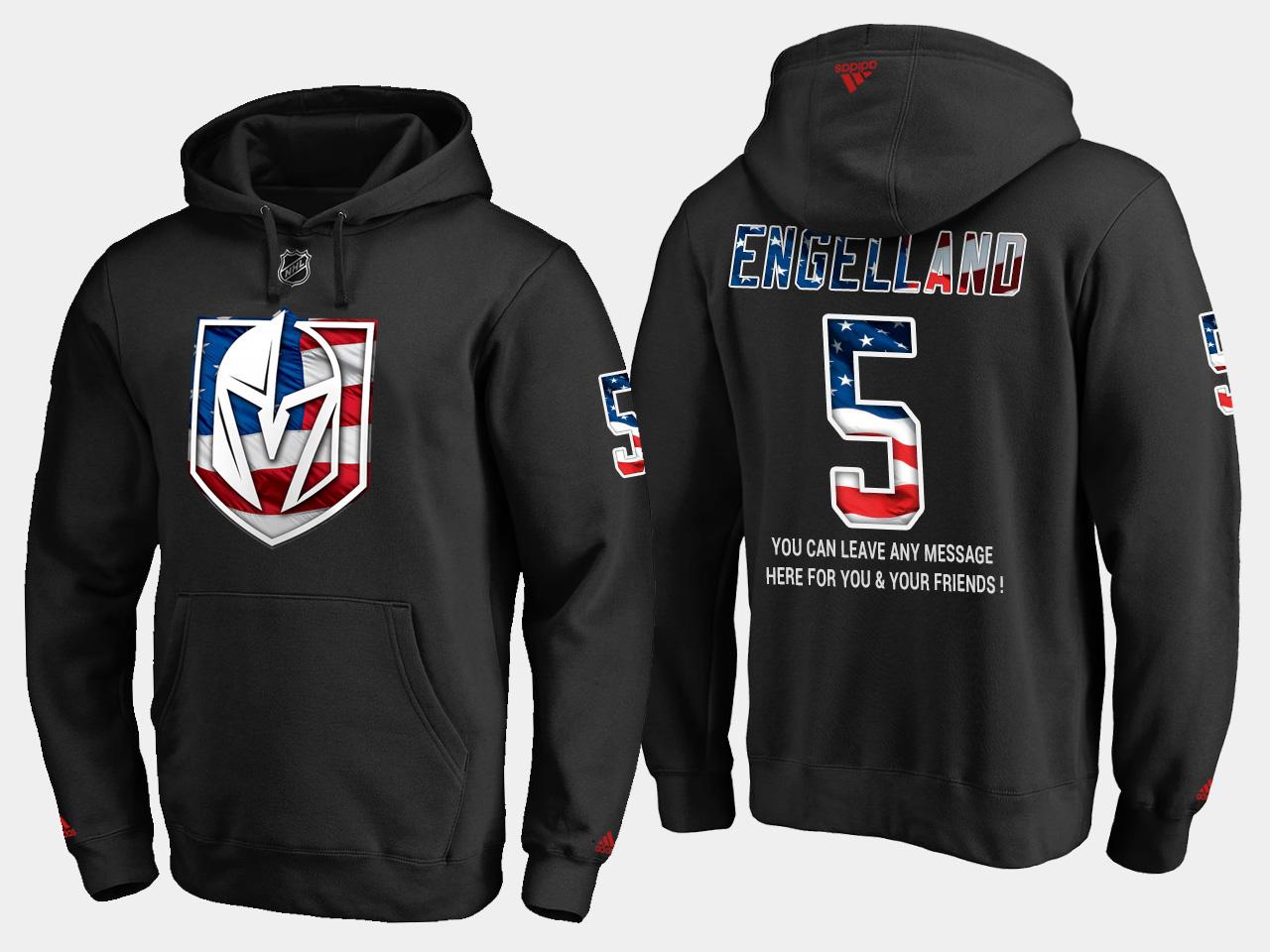 Golden Knights #5 Deryk Engelland NHL Banner Wave Usa Flag Black Hoodie