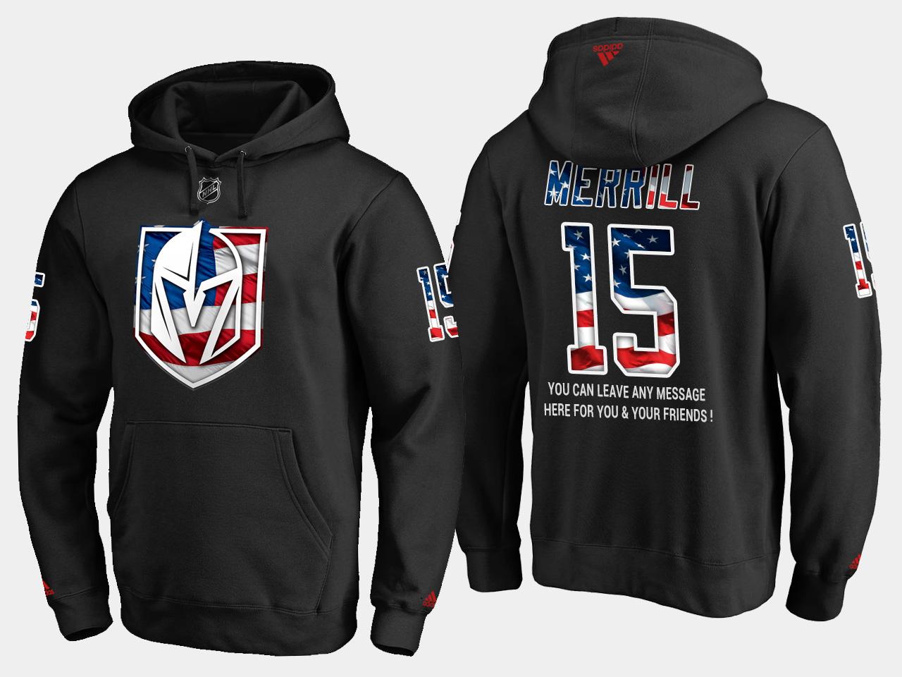 Golden Knights #15 Jon Merrill NHL Banner Wave Usa Flag Black Hoodie