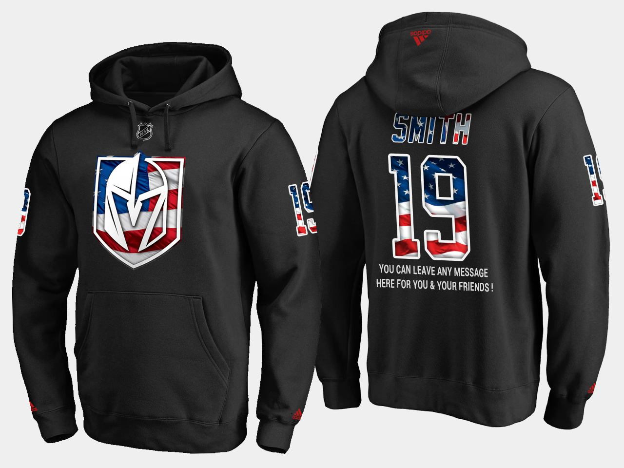 Golden Knights #19 Reilly Smith NHL Banner Wave Usa Flag Black Hoodie