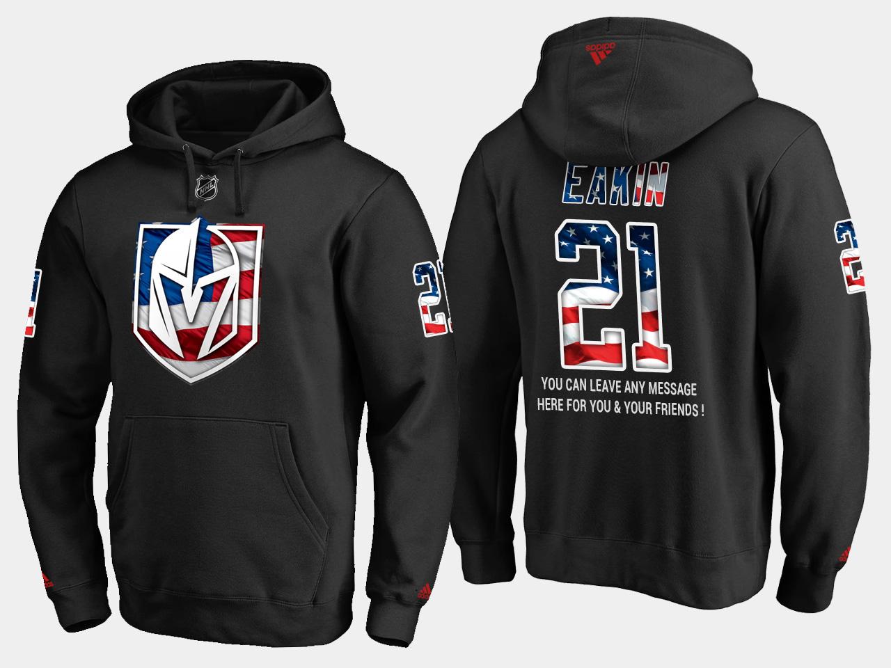 Golden Knights #21 Cody Eakin NHL Banner Wave Usa Flag Black Hoodie