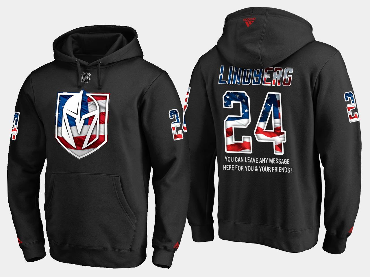 Golden Knights #24 Oscar Lindberg NHL Banner Wave Usa Flag Black Hoodie
