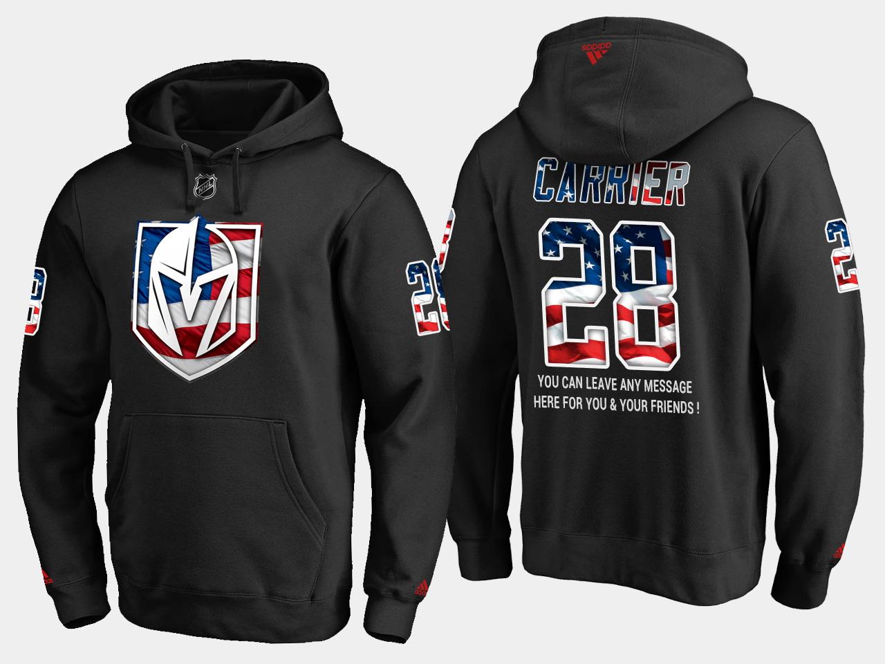 Golden Knights #28 William Carrier NHL Banner Wave Usa Flag Black Hoodie