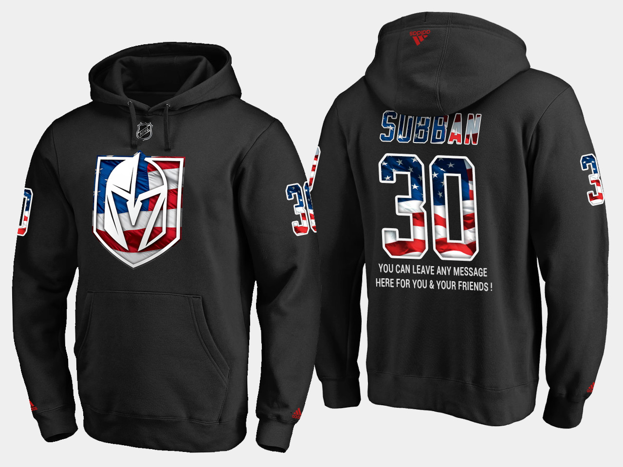 Golden Knights #30 Malcolm Subban NHL Banner Wave Usa Flag Black Hoodie