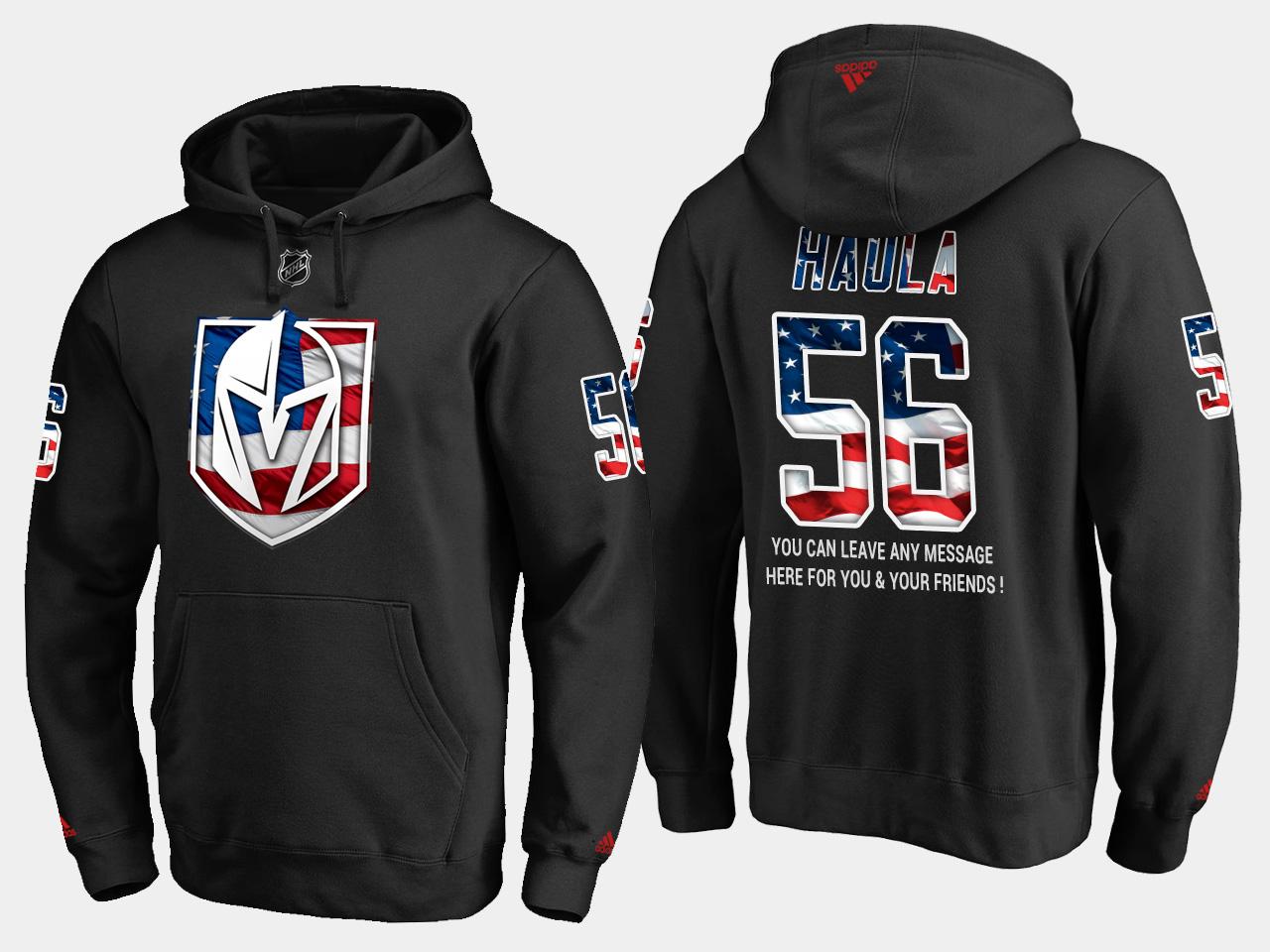 Golden Knights #56 Erik Haula NHL Banner Wave Usa Flag Black Hoodie