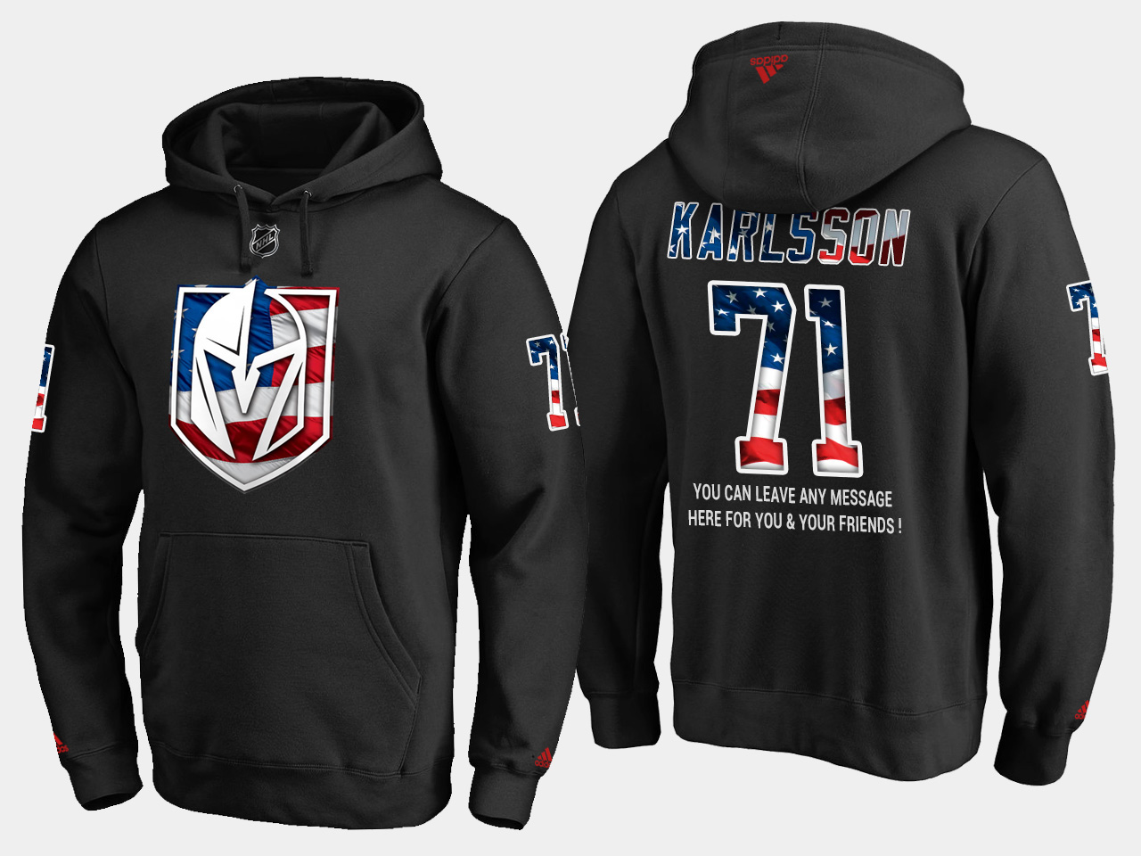 Golden Knights #71 William Karlsson NHL Banner Wave Usa Flag Black Hoodie
