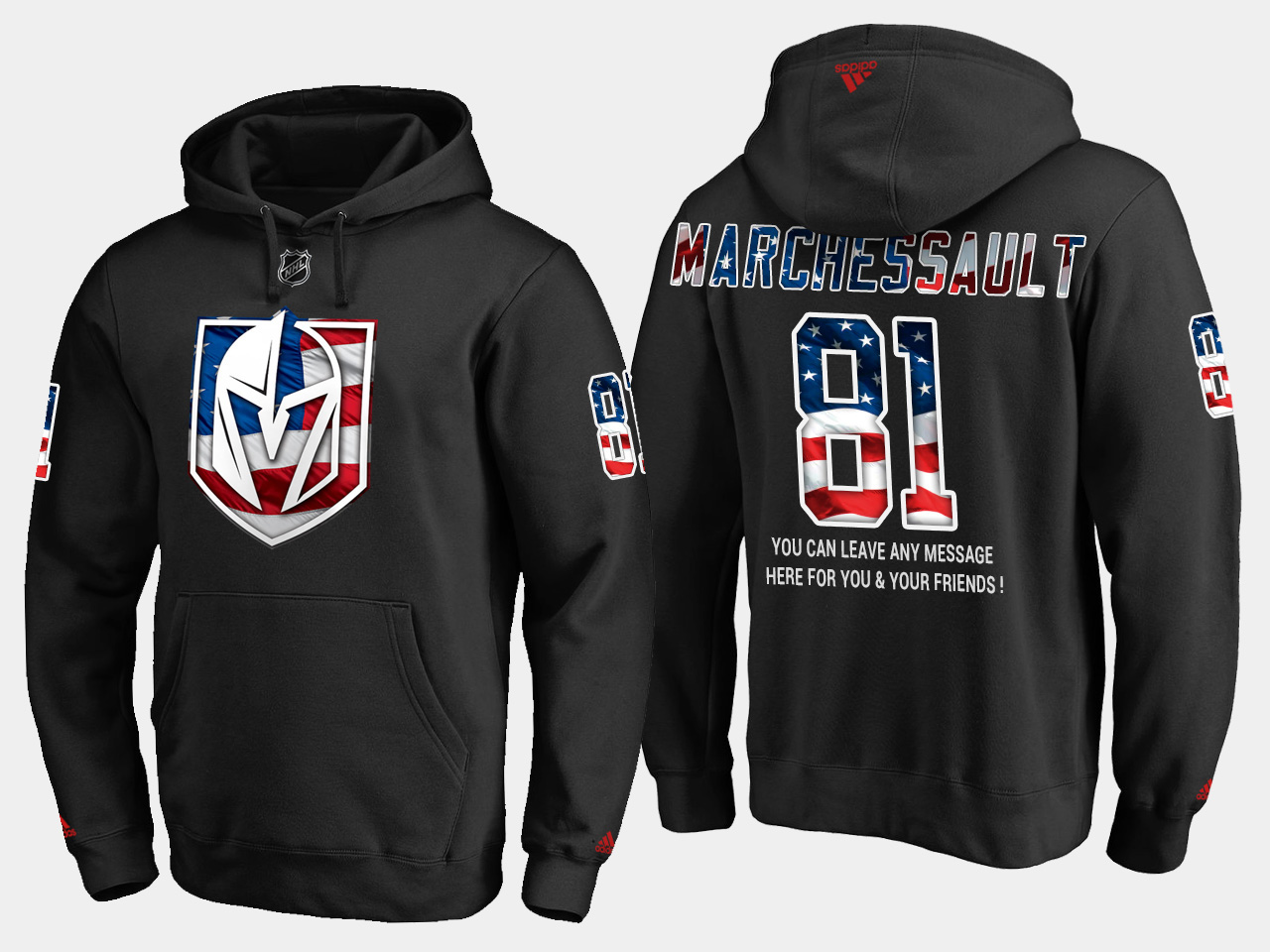Golden Knights #81 Jonathan Marchessault NHL Banner Wave Usa Flag Black Hoodie