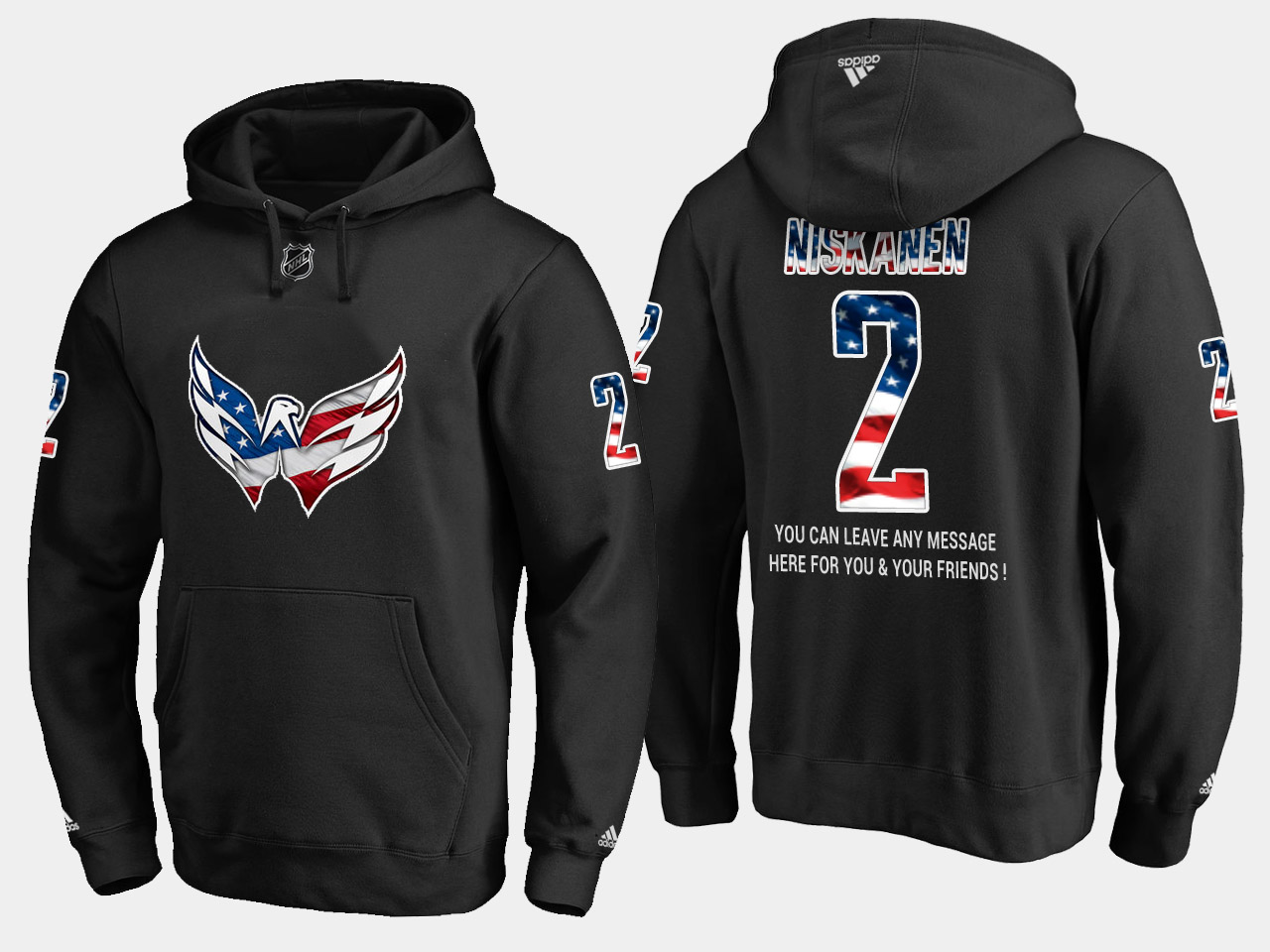 Capitals #2 Matt Niskanen NHL Banner Wave Usa Flag Black Hoodie