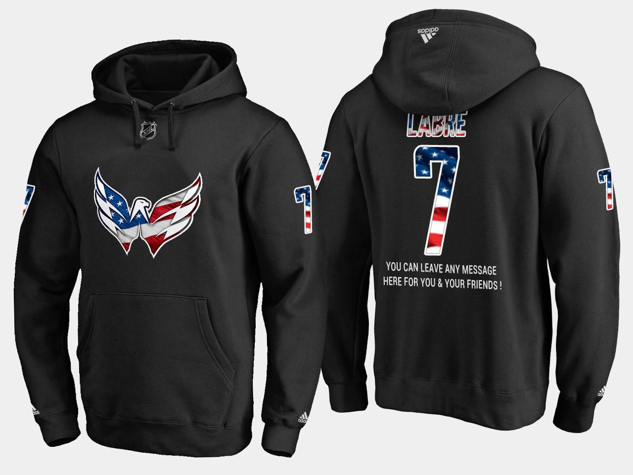 Capitals #7 Yvon Labre NHL Banner Wave Usa Flag Black Hoodie