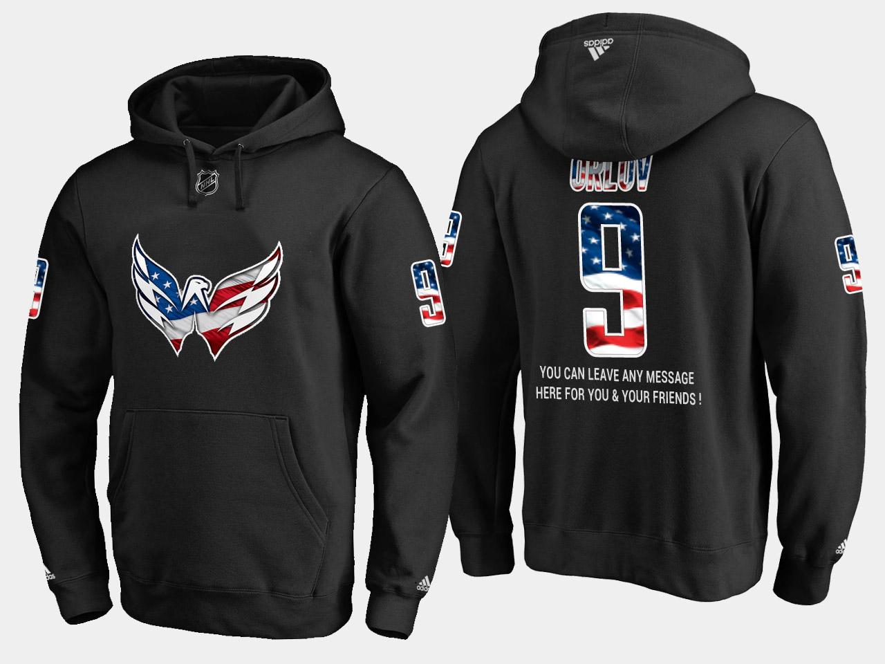 Capitals #9 Dmitry Orlov NHL Banner Wave Usa Flag Black Hoodie