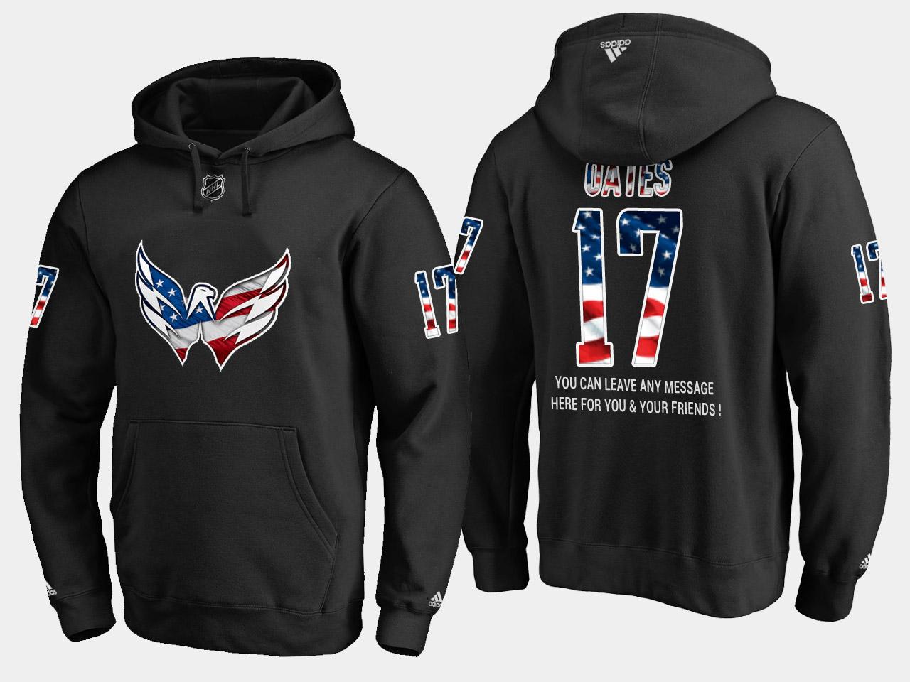 Capitals #17 Adam Oates NHL Banner Wave Usa Flag Black Hoodie